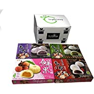 Japanese Mochi Variety Pack: Red Bean, Taro, Green Tea, and Lychee Royal Family Total 29.6oz - Packed in Fusion Select Gift Box