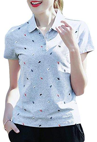 BeiBang(バイバン) レディース 半袖 ポロシャツ 夏 半袖Tシャツ スポーツ風 コットン トップス ゆったり Tシャツ ゴルフ サマーポロシャツ