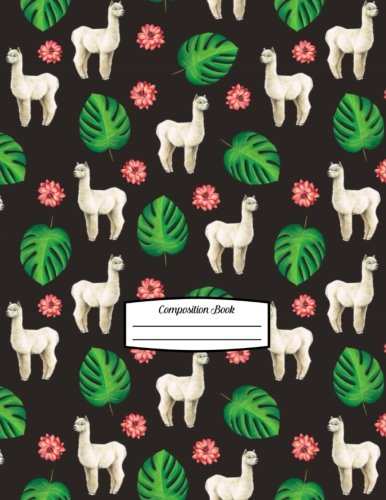 Alpaca Flowers - Composition Book: 8.5