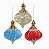 Kurt Adler Glass 6 Inch Red, Blue and Gold Finial Ornaments Set of 3 Assorted