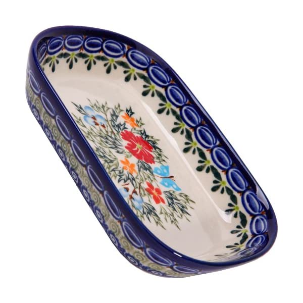 Polish Pottery Ceramika Boleslawiec, 0726/238, Butter Platter, 6 Long by 4 1/2 Inches Wide – 2 Cubes, Royal Blue Patterns with Red Cornflower and Blue Butterflies Motif