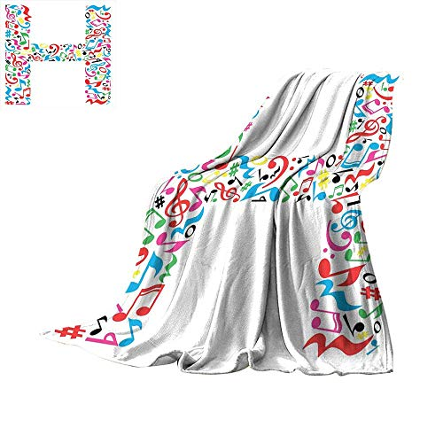 RamonDecorFH Letter H,Soft Blanket Microfiber Communication Tool Writing Language Element H Designed in Musical Notes Print for Couch Bed Living Room W80 x L60 inch