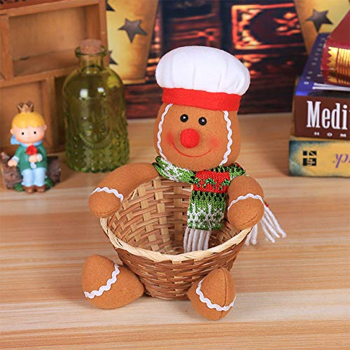 ristmas Candy Storage Basket for Xmas Table Decoration Children Toy Scene Layout Gift Small Gingerbread Man Christmas Halloween ()
