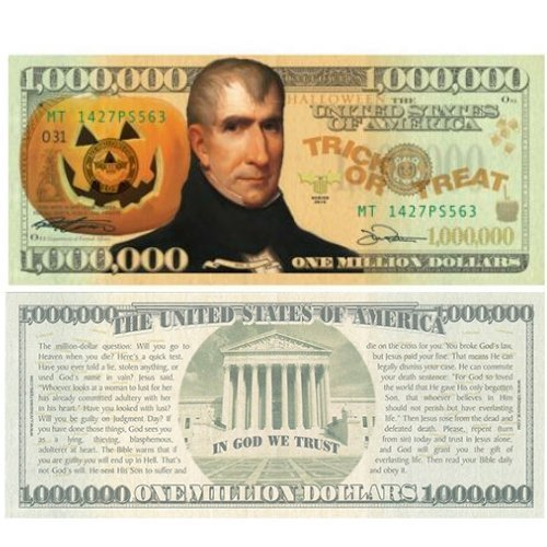 Halloween Million Dollar Bill Tract (20 Pack) Pamphlet -