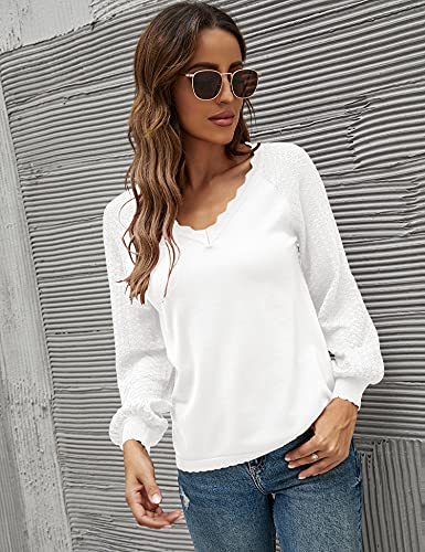 IECCP Women\'s V Neck Balloon Long Sleeve Knit Pullover Lace Patchwork Comfy Knit Blouse Sweater Tops Loose T Shirts