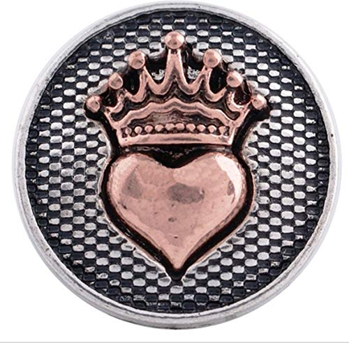 Rockin Angels Antique Silver Copper Heart Crown 20mm Snap Charm Jewelry for Ginger - Copper Antique Plated 18mm