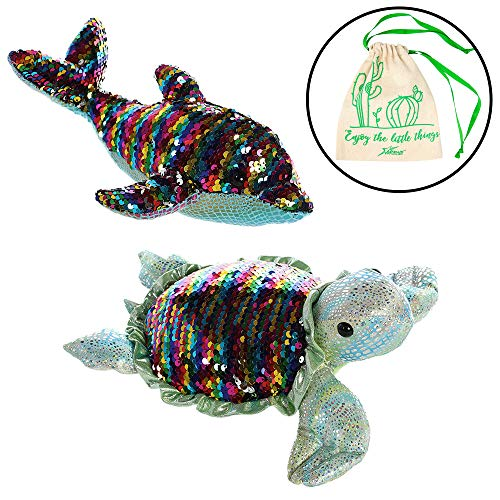 Aurora World Set of 2 Sequin Sparkles Plushies: Rainbow Dollyphin, and Rainbow Tara Turtle, with Drawstring ()