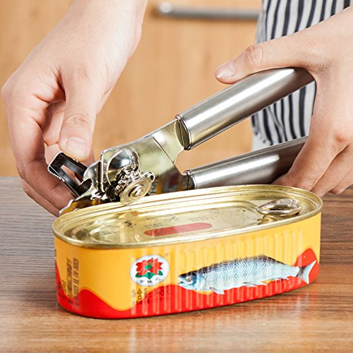 CAN OPENER - 3-In-1 Professional Stainless Steel Manual Can Opener Tin Opener Multi-functional Cap Lifter with Sharp Cutting Wheel - [ DAGO-Mart Quality Guarantee ]