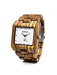 BEWELL Wood Watch for Men Calendar Analog Quartz Movement Wrist Watches