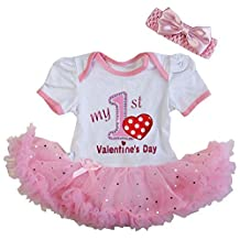 Kirei Sui Baby 1st Valentine's Day Glitter Pink Bodysuit Tutu Party Outfit
