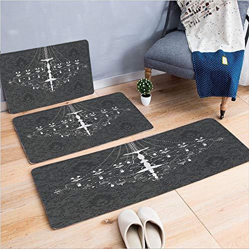 - 3 Piece Non-Slip Doormat 3d print for Door mat living room kitchen absorbent kitchen mat,Stylized Nostalgic Chandelier on Damask Background,15.7