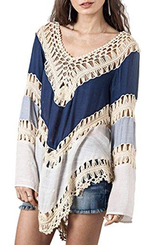 (POSESHE Women's Fashion Swimwear Crochet Tunic Cover up/Beach Dress Blue One Size)