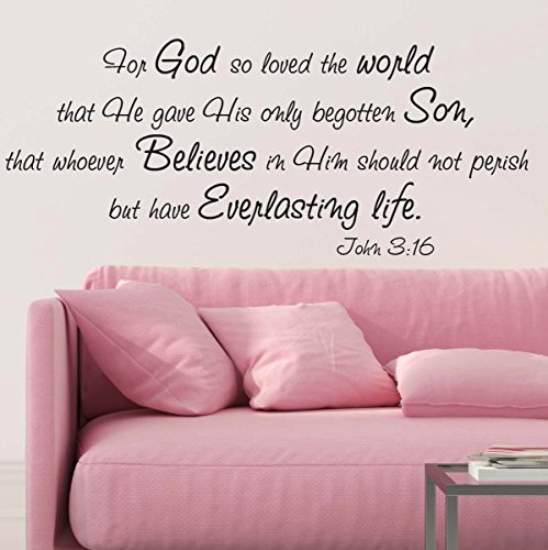 For God So Loved The World Wall Decal Quote Religious Bible Verse John 3:16 Scripture Christian Wall Art Sticker (29in widex 13.8in tall, Black)