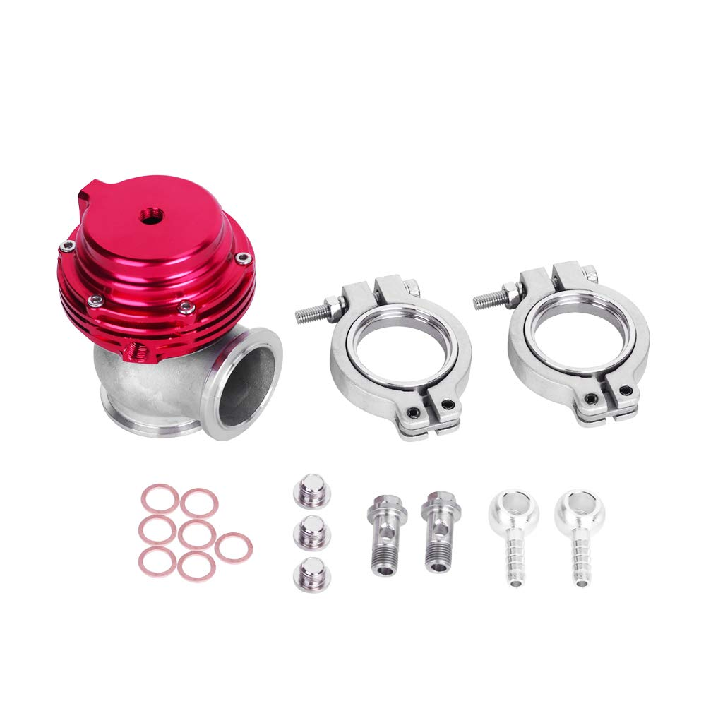 HiwowSport 38MM Turbo Exhaust Manifold External V-Band Wastegate Dump Pipe Valve (Red)
