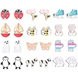12 Pack Hypoallergenic Assorted Flower Animal Stud Earrings Set for Girls