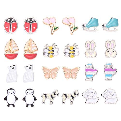 OAONNEA 12 Pairs Assorted Multiple Tiny Stud Earrings for Women Girls ,Hypoallergenic