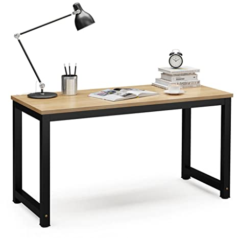 Magnificent Tribesigns Computer Desk 55 Inch Large Office Desk Computer Table Study Writing Desk Workstation For Home Office Light Walnut Beutiful Home Inspiration Truamahrainfo