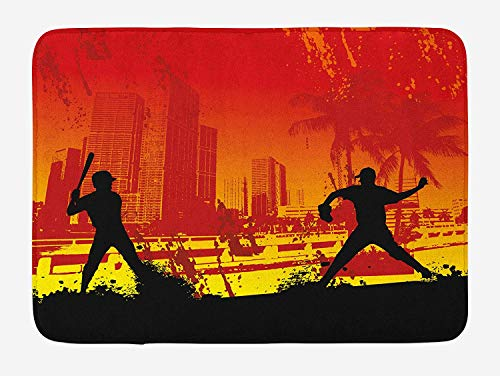 Teen Room Bath Mat, Men Playing Baseball in The Town City Park Tall Buildings Urban Scenery, Plush Bathroom Decor Mat with Non Slip Backing, 23.6 W X 15.7 W Inches, ()