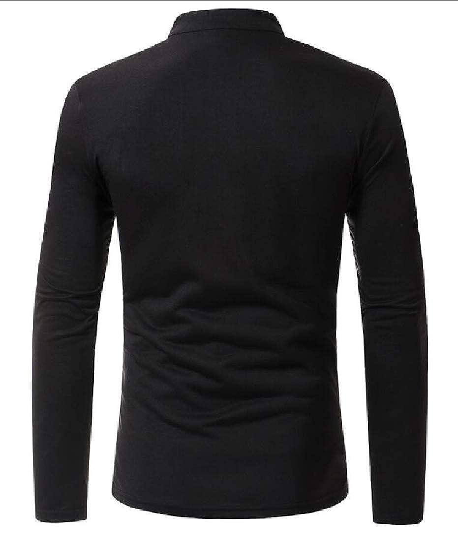 WSPLYSPJY Mens Casual Slim Polo Shirts V-Neck Long Sleeve Tops