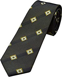 Zarrano Skinny Tie 100% Silk Woven Taupe/Black Floral Tie