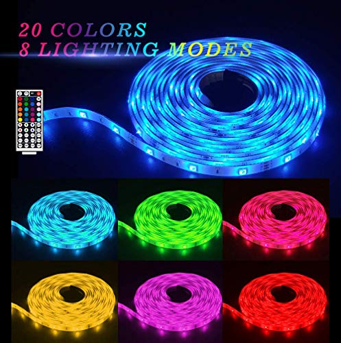 32.8ft/10M LED Strip Light RGB SyNong Soft Rope Lights 5050 SMD DreamColor 300 LEDs Waterproof 2x5M Tape Light with 44 Keys IR Remote Control and 12V Power Adapter for Room Kitchen Indoor Ourdoor Deco