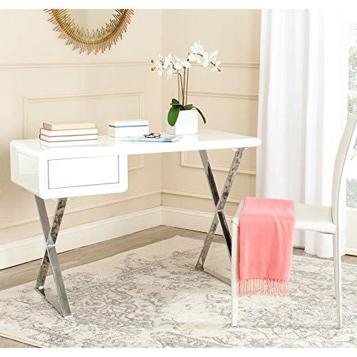 Safavieh Hanover Desk, White and Chrome