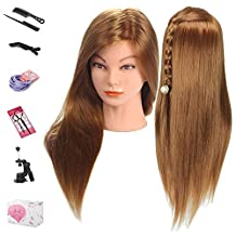 Beauty Star Mannequin Head, 20 Inches Long Hair Cosmetology Mannequin Manikin Pratice Training Head Model Hairdressing Styling Doll Head with Clamp and Accessories