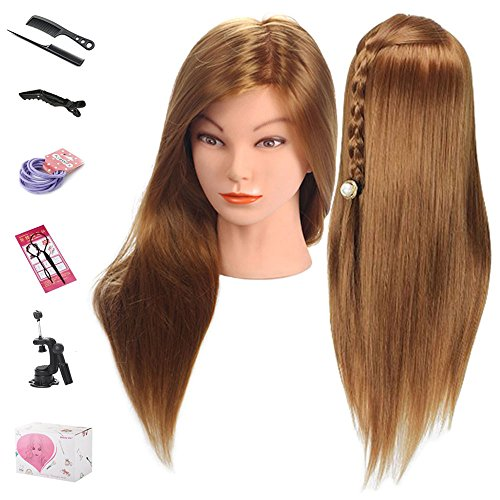 Mannequin Head, Beauty Star 20 Inch Long Gold Hair Cosmetology Mannequin Manikin Training Head Model Hairdressing Styling Practice Training Doll Heads with Clamp and Accessories (Mannequin Hair)