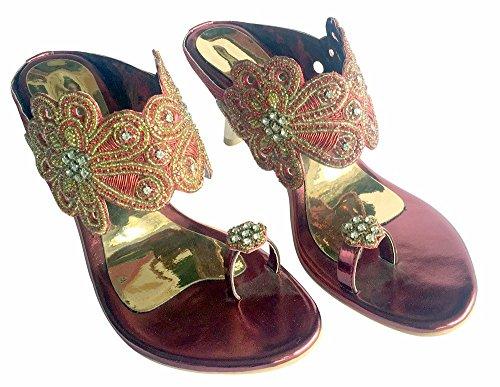 Jutti Haut De Sandales Femmes Anneau De Khussa Perles N Orteil Sandales Chaussures Les Pas De Talon Partie Mahroon Style XaFxwqO5P