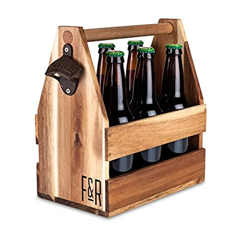 Acacia Wood Beer 6 pack Carrier, Caddy, Holder, Tote, Basket by Foster and Rye
