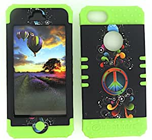 APPLE IPHONE 5 RAINBOW PEACE MUSIC NOTES HEAVY DUTY CASE + LIME GREEN GEL SKIN SNAP-ON PROTECTOR ACCESSORY