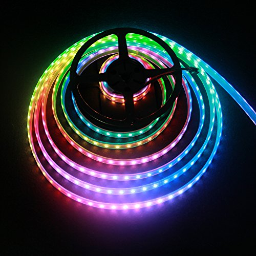 ALITOVE WS2812B Individually Addressable LED Strip Light 5050 RGB 16.4ft 300 LED Pixel Flexible Lamp Tube Waterproof IP67 Black PCB DC 5V
