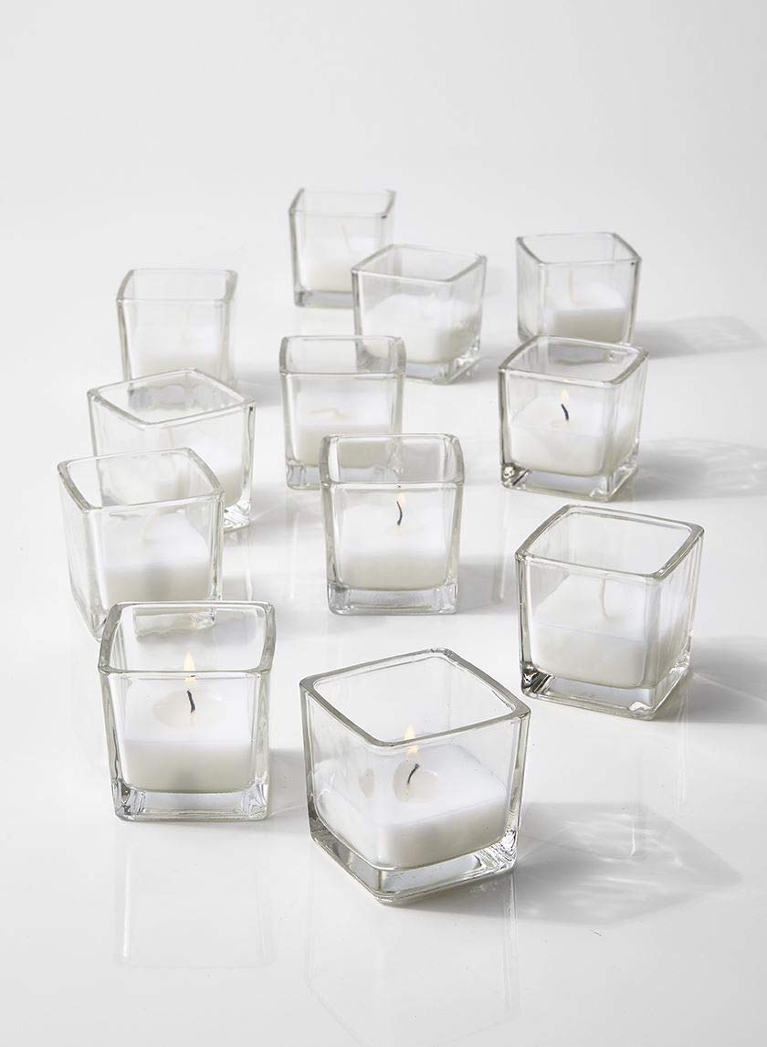 """Serene Spaces Living 10-Hour White Unscented Cube Votive Candles in Set of 96– Classic Clear Glass Design in 2"""" Cubes"""