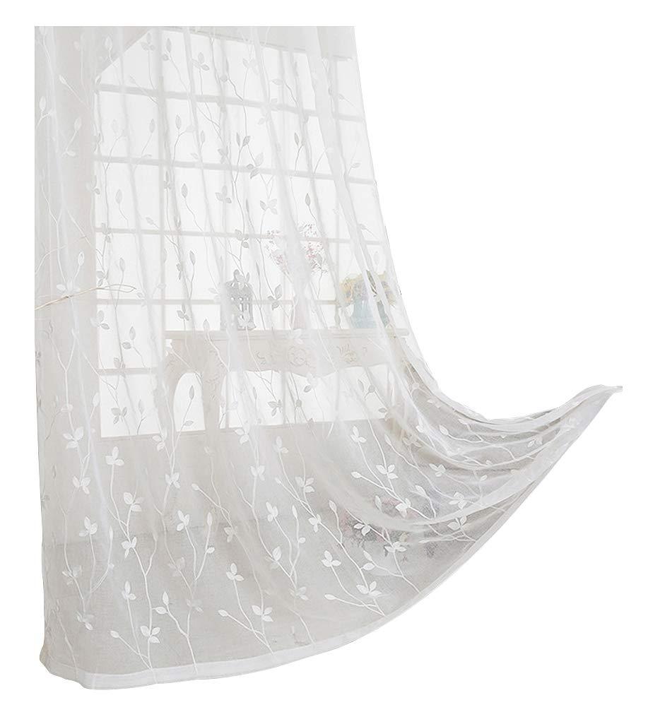 ASide BSide 1 カントリーサイドスタイル ホワイト 葉っぱ模様 タオル 刺繍入り シアーカーテン BSide ロッドポケット ホームデコレーション リビングルーム ダイニングルーム 子供部屋用 (1パネル 幅52 x 長さ84インチ ホワイト) 52W x 63L Inch, 1 Panel ホワイト 52W x 63L Inch, 1 Panel ホワイト B07CSSL4J5, HANEYA Design -ハネヤデザイン-:ab2e38ea --- ijpba.info