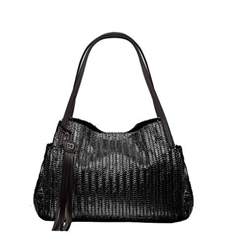 Eric Javits Luxury Fashion Designer Women's Handbag - Aura - Black by Eric Javits