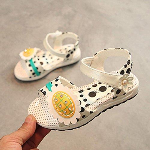 Fheaven Baby Jenter Sandaler Sneaker Barn Dot Trykt Solsikke Blomster Uformell Prinsesse Sommersko Beige