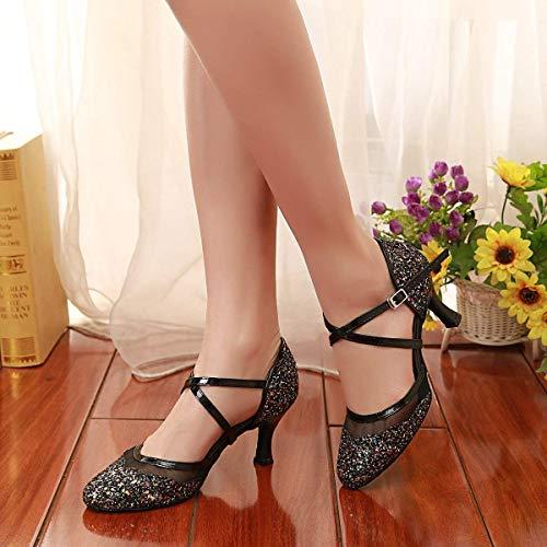 coloré De Femmes Bout Hhgold À Latine Danse Fermé Chaussures Pour Taille Cxnq6wT