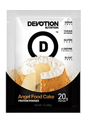 Devotion Nutrition Protein Powder, Angel Food Cake, 20g Protein, 1g MCT, Protein Baking Powder, Whey Protein Powder, Low Carb Protein, Single Serving Packets