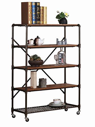 "O&K Furniture 5-Shelf Industrial Bookshelf with Wheels, Display Storage Rack, 45.5""H by O&K Furniture"