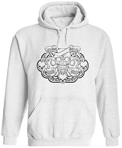 Unisex Mens Sugar Skull Snake Tattoo Pullover Hooded Sweatshirt (White, 2XL) ()