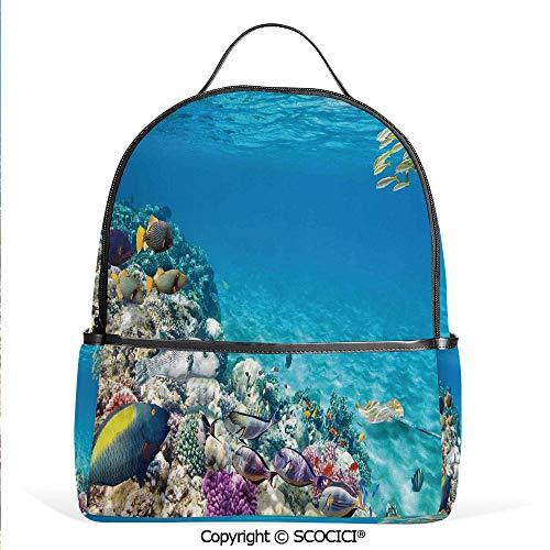 Lightweight Chic Bookbag Clear Underwater Sea Life Animal World Corals Tropical Fishes and Stingray,Aqua Purple and Tan,Satchel Travel Bag Daypack