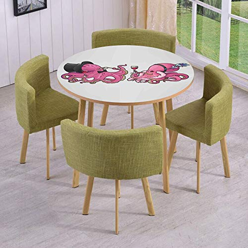 - iPrint Round Table/Wall/Floor Decal Strikers/Removable/Cartoon Art Illustration of Octopuses in Fun Retro Costumes at Party Vintage Style Decor/for Living Room/Kitchens/Office Decoration