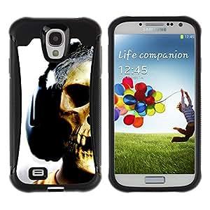 All-Round híbrido Heavy Duty de goma duro caso cubierta protectora Accesorio Generación-II BY RAYDREAMMM - Samsung Galaxy S4 I9500 - Skull Headphones Music Art Skeleton Man