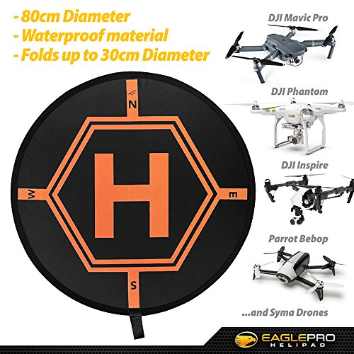 Drone-Landing-Pad-for-DJI-Mavic-Pro-Inspire-RC-Helicopters-Quadcopters-and-other-Drones-Portable-Fast-Fold-Launchpad-with-Cool-Graphics-Keeps-Your-UAV-off-the-Ground-and-Helps-find-Landing-Zone