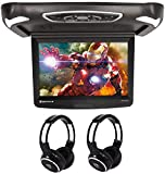 "Rockville RVD15BGB Black/Grey/Tan 15"" Flip Down Car Monitor+Wireless Headphones"