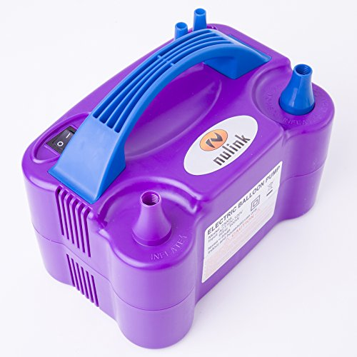 Nulink™ Electric Portable Dual Nozzle Balloon Blower Pump Inflation for Decoration, Party, Sport [110V~120V, 600W, Purple]
