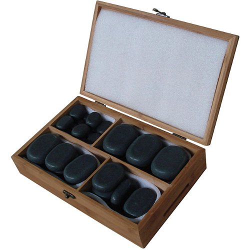 Sivan Health and Fitness Basalt Lava Hot Stone Massage Kit with 36 Pieces *New and Improved Packaging*