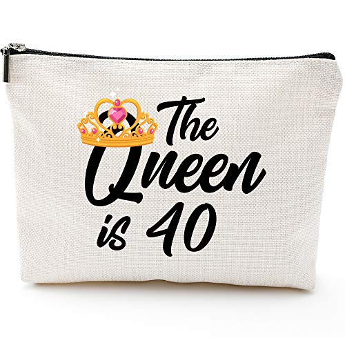 Queen is 40,40th Birthday Gifts for Women boss wife mother daughter Makeup Bag, Milestone Birthday Gift for Her, Presents for Turning Forty and Fabulous
