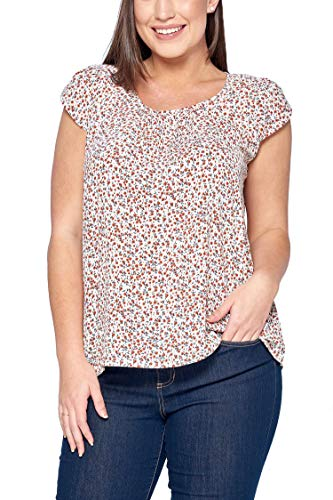 Women's Junior Plus Tiny Flower Print Cap Sleeve Pleated Loose Fit Top Ivory 1X ()