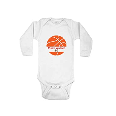 e328572bfef Personalized Custom Basketball Player Sport Cotton Long Sleeve Envelope  Neck Boys-Girls Baby Bodysuit One